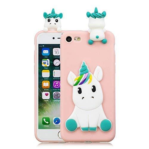 HopMore Compatibile con Cover iPhone SE 2020 / iPhone 7 / iPhone 8 Silicone Disegni 3D Divertenti Fantasia Gomma Morbido Custodia Antiurto Protettiva Slim TPU Case Bumper Molle Caso - Unicorno Rosa