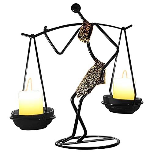 kiptyg Porta Candela, Porta Candele Ferro Battuto, Portacandele in Metallo Nero, Design umanoide creativo, semplice ed elegante, adatto per la decorazione di tavoli e bar (24 x 11 x 24cm, 1 pezzo)
