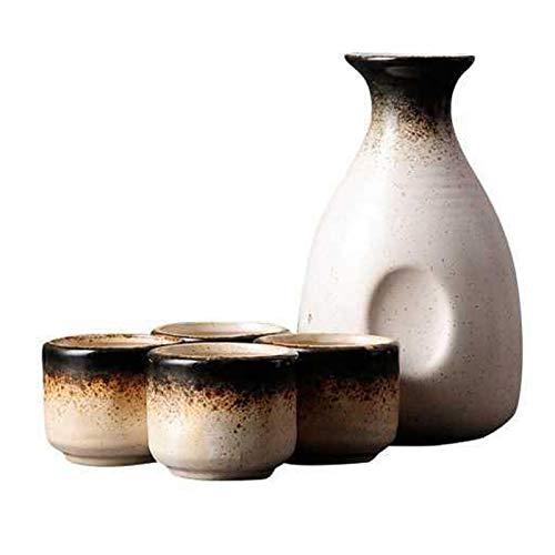 Uziqueif Juego de Taza y Taza de Sake de Porcelana, Estilo japonés, Juego de cerámica para Servir Sake con 1 Bote/Botella de Sake, 4 Tazas,D
