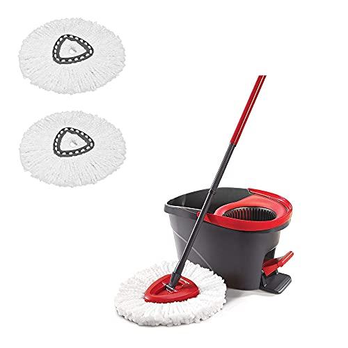 Vileda Easy Wring & Clean Juego de Fregona con Palo telescópico y Cubo Escurridor Giratorio con 2 recambios adicionales, Negro/Rojo + Producto de Limpieza Multiusos para el hogar