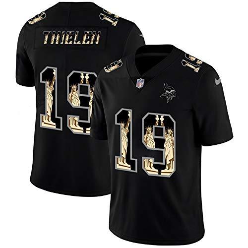 American Football Trikot Minnesota Vikings # 19 Adam Thielen, Thielen Rugby Trikot Stickerei Sport T-Shirt, Kurzarm Top Sweat Shirt-Black-XL