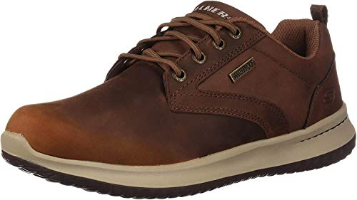 Skechers Delson-Antigo, Zapatos de Cordones Oxford Hombre, Marrón (CDB Black Leather), 44 EU