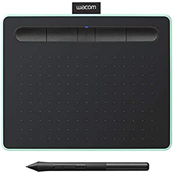 """Wacom Intuos Wireless Graphics Drawing Tablet with 3 Downloadable Software Programs, 7.9"""" X 6.3"""", Black with Pistachio Accent (CTL4100WLE0), Small"""