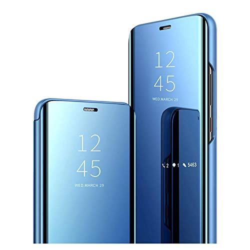 GOGME Hülle für Oppo Reno 4 Pro 5G (Reno4 Pro 5G), Spiegel Handyhülle PU Leder Flip Business-Stil Hülle Cover, Stand Mirror Ledertasche BookStyle Schutzhülle. Blau