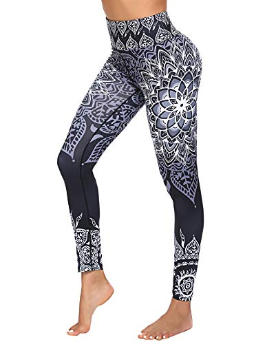 COOrun Printed Yoga Pants for Women High Waisted Compression Athletic Leggings Black XL