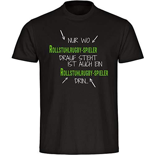 T-shirt alleen waar rolstoelrugby-speler Drauf staat is ook een rugby-speler in zwart heren maat S tot 5XL - Shirt & druk Oekotex100