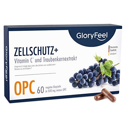 Zellschutz+* OPC Traubenkernextrakt plus Vitamin C - 60 vegane Kapseln - 1.000mg reines OPC plus 12mg Vitamin C pro Tagesdosis - Laborgeprüft ohne Zusätze hergestellt in Deutschland