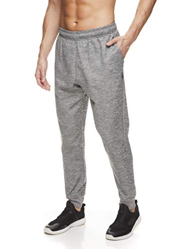 Reebok Men's Jogger Running Pants with Zipper Pockets - Athletic Workout Training & Gym Sweatpants - Sprint Charcoal Heather, Medium