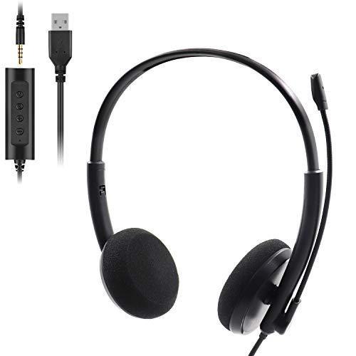 Auriculares con Microfono PC, Auriculares USB / 3.5mm Cancelación de Ruido & Sonido Estéreo Claro Cascos Business con Control de Volumen para Skype, Centros de Llamadas, Cursos Online, PC, Teléfono