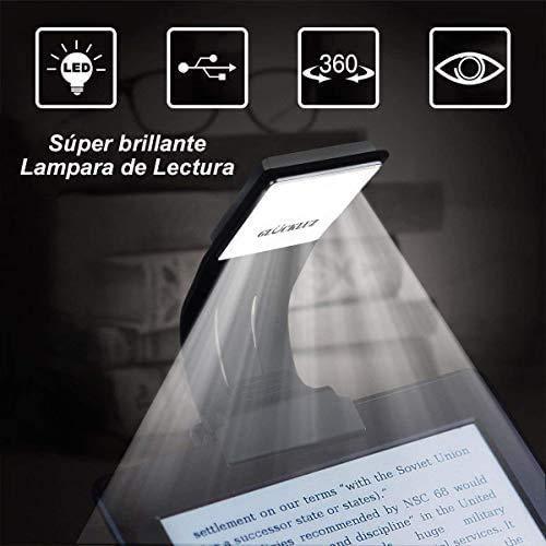 Glückluz Iluminación para Lectura Kindle Luz LED Lampara de Lectura luz de escritorio Recargable Clip Luz de Lectura con Brillo...
