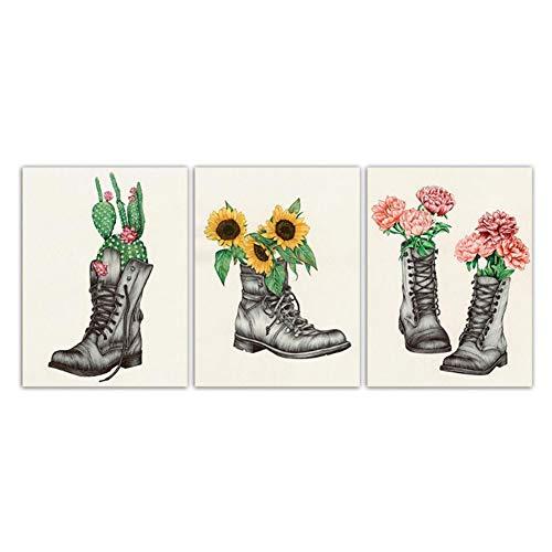 sjkkad Nordic poster schoenen en cactus zonnebloem bloemen aquarel canvas schilderij wand kunstdruk afbeeldingen woonkamer 50 x 70 cm geen lijst