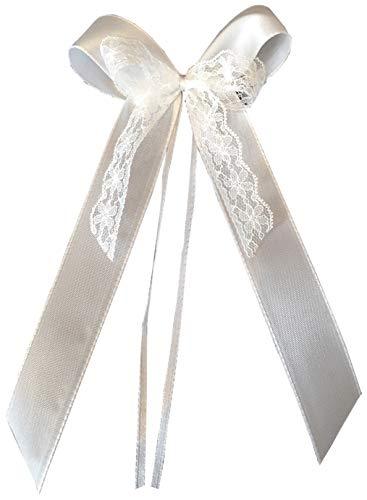 25 Antennenschleifen Autoschleifen Autoschmuck Hochzeit SCH0121 Vintage Shabby Spitze weiss