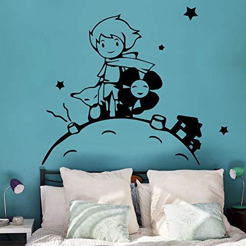 zqyjhkou Dibujos Animados Princekin Decoraciones para el hogar pequeño príncipe calcomanía de Pared para Habitaciones de niños decoración para el hogar Pegatina Mural Nak47x56cm