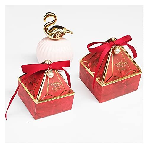 xczbb Caja de Regalo Nueva Caja de Regalo de Papel Caja de Boda Favor de la Boda Ducha Evento de Evento de Evento Suministros (Color : Red, Gift Bag Size : L 8.5x8.5x10 cm)