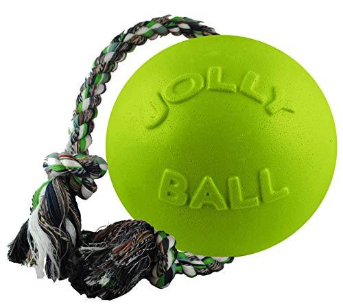 Jolly Pets Romp-n-Roll Hundespielzeug mit Seil und Ball, 6 Inches/Medium, apfelgrün