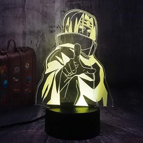 Múltiples colores Kakashi 3D LED luz nocturna japonesa Naruto Anime lámpara de mesa adornos adornos niño niño juguete regalo de cumpleaños