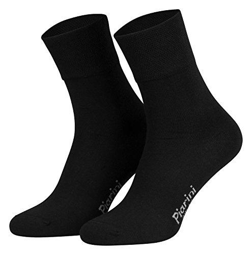 Piarini - 8 pares de calcetines unisex - Sin elástico - Caña cómoda - Negro - 39-42