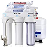 iSpring PH100 Top Quality 6-Stage Under Sink Reverse Osmosis RO Drinking Water Filtration System 100 GPD Fast Flow 1:1 Pure to Waste Ratio with Alkaline Remineralization, US Made Filters, White