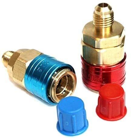Accesorios roscados Adaptadores Acopladores rápidos 2 unids R134A H / L Auto Auto Conector Conector de acoplamiento rápido Adaptador de latón Aire acondicionado Refrigerante Ajustable CA Mangogés Univ