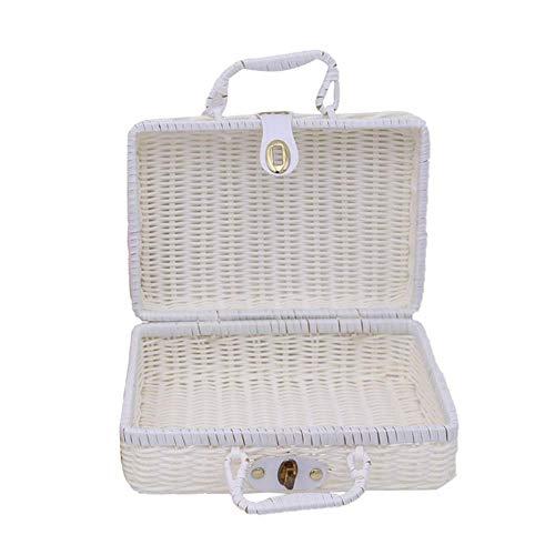 Bledyi Rattan Aufbewahrungsbox Picknickkorb Aufbewahrungsbox Vintage Koffer Requisiten für Picknick Wandern Camping Familie Reunion, weiß (Weiß) - OOK1I7J2LU