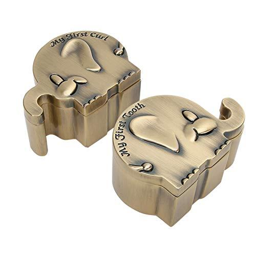 2 piezas de soporte para el primer diente del bebé, caja de recuerdo de diente de hada con forma de elefante, regalo de lata de recuerdo para recién nacidos