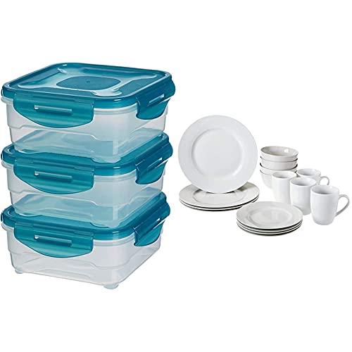 Amazon Basics Air-Locked 3-Piece Food-Storage Set, 3 x 0.8 Liter & Dinnerware Set, Service for 4, 16-Piece