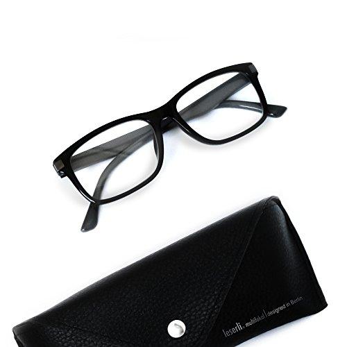 Arbeitsplatzbrille Nahbereichsbrille PC-Brille Computerbrille erweiterter Lesebereich, Federscharnier, Etui, schwarz oder blau Lerserli® Lesebrille (+2.5, schwarz)