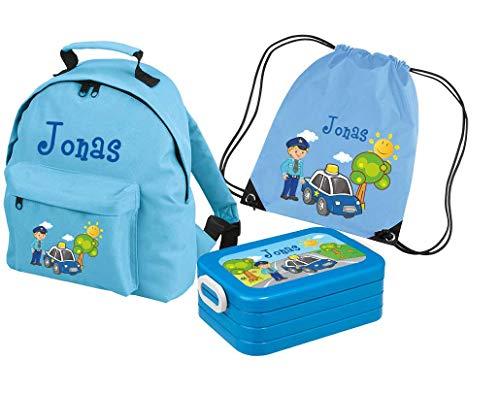 Mein Zwergenland Set 4 Kindergartenrucksack Classic und Brotdose Lunchbox Maxi + Turnbeutel mit Name Polizei, 3-teilig, Hellblau