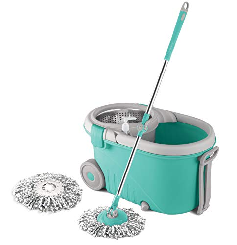 Spotzero by Milton Royale Steel Wringer Spin Mop With Big Wheels (Aqua Green, Two Refills)