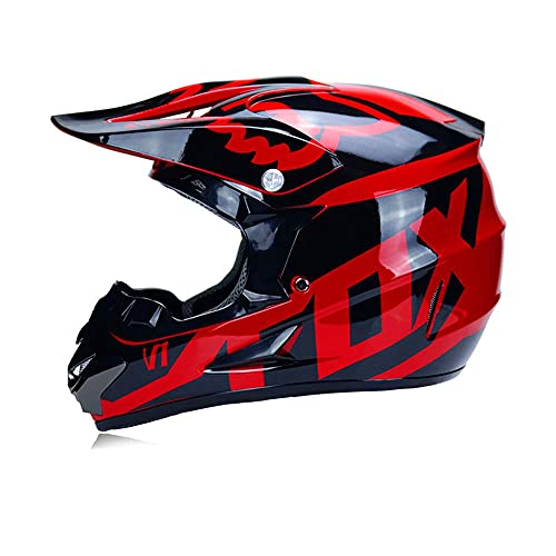 LSLVKEN Adulto Motocross Cascos de Motos con Gafas Máscara Guantes,