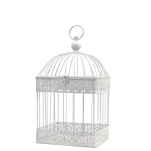 chemin_de_campagne Cage à Oiseaux Carré Blanc Fer Déco 47 cm x 24 cm x 24 cm