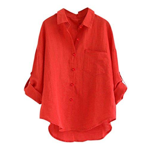 MRULIC Damen Langarm Shirt Beiläufige Lose Baumwolle Frühling Herbst Tops Solide Elegante T-Shirt (X-Rot,EU-40/CN-L)