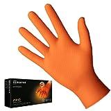 Guanti in nitrile arancioni POWERGRIP, taglia: XL - 50 pezzi, Guanti protettivi monouso, privi di rivestimento in polvere, senza lattice, guanti nitrile con uno spessore 3 volte superiore