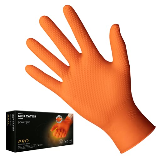 Guanti in nitrile arancioni POWERGRIP, taglia: L - 50 pezzi, Guanti protettivi monouso, privi di rivestimento in polvere, senza lattice, guanti nitrile con uno spessore 3 volte superiore