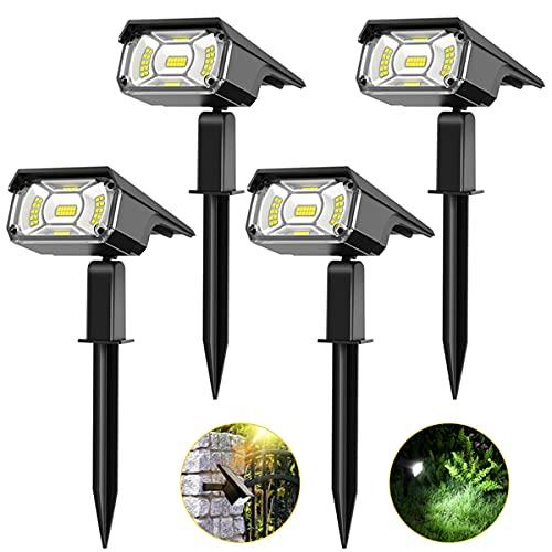 Solar Spot Lights Outdoor, PESIVI 40 LEDs Landscape Lighting Spotlights, Adjustable 2-in-1 USB & Solar Powered IP65 Waterproof Garden Light for Yard Backyard Walkway Driveway Patio Pool Trees, 4 Pack