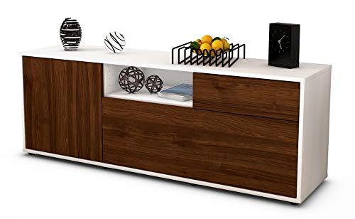 Stil.Zeit Möbel TV Schrank Lowboard Amila, Korpus in Weiss matt/Front im Holz Design Walnuss (135x49x35cm), mit Push to Open Technik und hochwertigen Leichtlaufschienen, Made in Germany