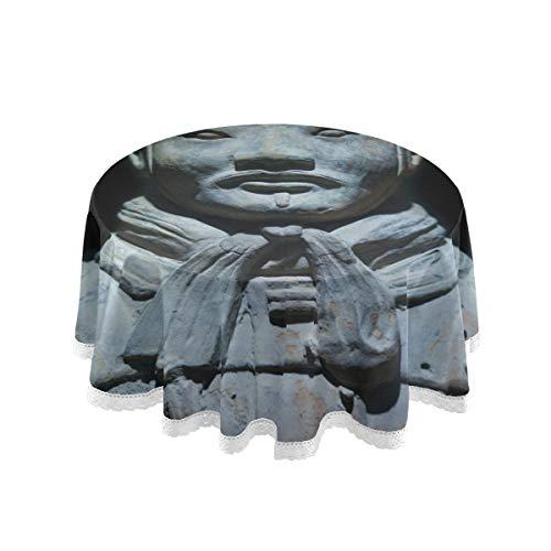 Plsdx Runde Camping Tischdecken Il Patrimonio Di Tutto Il Mondo Di Terrakotta Esstisch Abdeckung 60 Zoll Spitze Stitching Macrame Polyester Dekoration