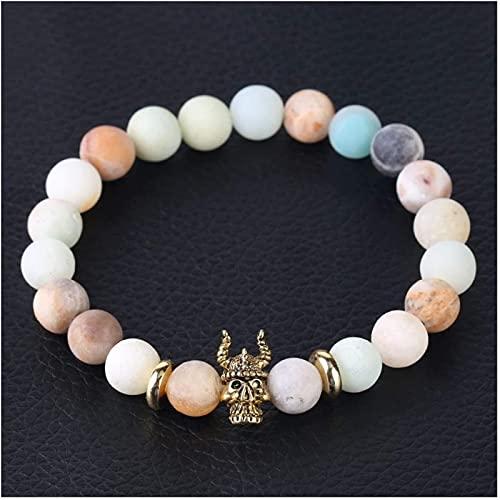 HYJMJJ Pulsera Feng Shui Bead Piedra Natural Pulsera Helada Pulsera Beads Skull Buda Cabeza Reiki Joyería para Hombres Mujeres Pulsera de Abalorios de Amuleto (Size : Bull King)