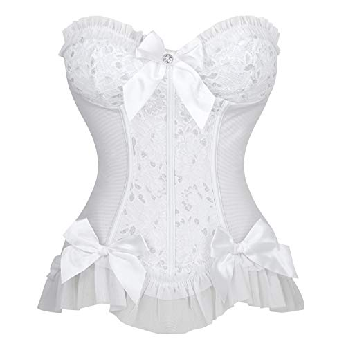 Charmian Women's Sweetheart Floral Jacquard Strapless Wedding Bridal Corset Bustier Top White X-Large