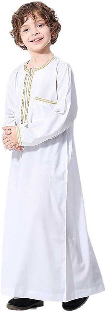 KEHAIEN Boys Long Abaya Turkey Islamic Arabic Muslim Dress Caftan Dubai Kaftan Moroccan Dress Muslim Long Robe