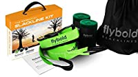 flybold Slackline Kit with Tree Protectors 57 feet Easy Set up Instruction Booklet and Carry Bag Set Outdoor Fun for Family Adults Children Kids [並行輸入品]