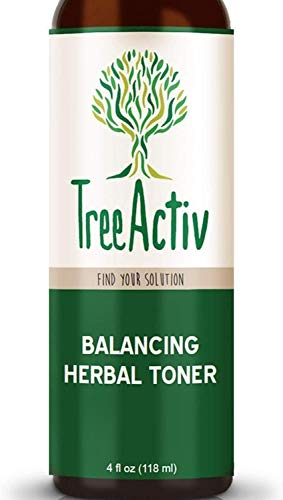 TreeActiv Balancing Herbal Toner | Anti-Acne Spray for Face & Neck | Witch Hazel & Rose Water Mist for Zits, Blackheads, & Whiteheads | Pimple Treatment for Women, Men, Adults, & Teens | 1000+ Sprays