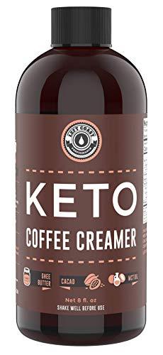 Keto Creamer with MCT Oil, Farm Fresh Ghee, Cocoa Butter, Coconut Oil 8oz. Unsweetened. Must Be Blended. Zero Carb Keto Coffee Creamer, Keto-friendly, Sugar Free