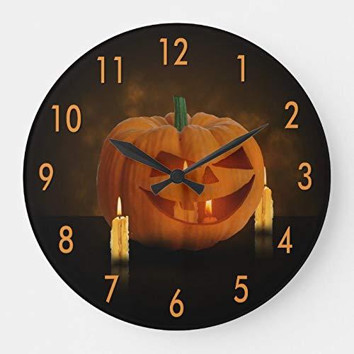 DoreenAbe Decorative Wood Clock, Non Ticking Clock 12 Inch Halloween Pumpkin Lantern with Candles Large Clock Round Clock Wall Clock