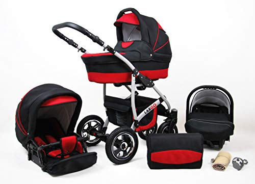 Kinderwagen Largo,3 in 1 -Set Wanne Buggy Babyschale Autositz mit Zubehör Black Red