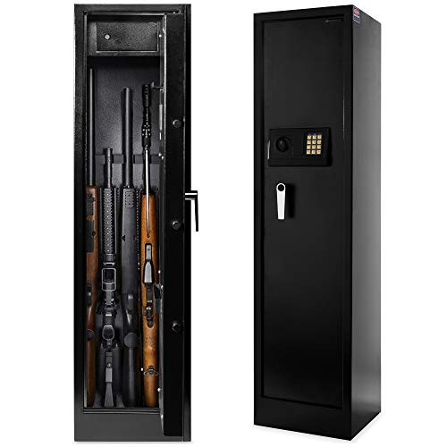 Best Choice Products Steel Electronic Storage Rifle Gun Safe for Firearms, Valuables, Anti-Theft w/Digital Keypad, 2 Compartment Keys, 2 Override Keys, Sleeve Anchors, Padded Interior - Black