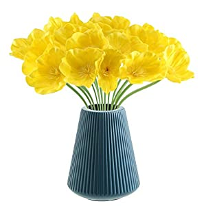 CHAMER Artificial Orange Poppy Flowers-Fake Flower Decorative Flower+Real Touch PU Poppies Fake Flowers for Wedding Party Home Office DIY Hotel Decoration(Yellow)(vase not Include)