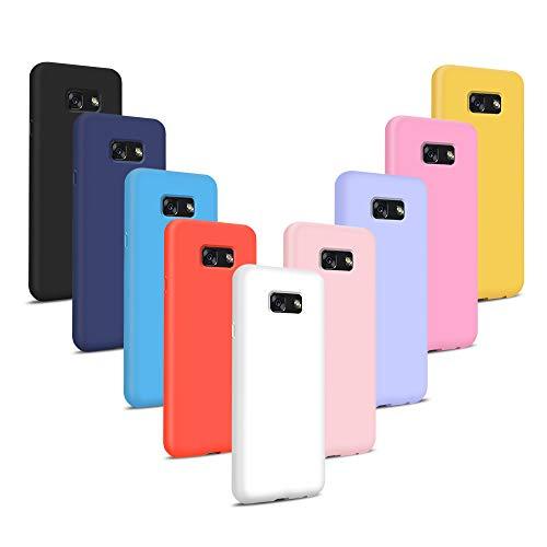 Coqin [9 Stücke] Kompatibel mit Samsung Galaxy A3 2017 Hülle, Einfarbig Silikon Weich TPU Schutzschale, [Stoßfest] [Ultra-Slim] [Kratzfest] [Verschleißfest] [Rutschfest] [Stilvoll] - 9 Farben