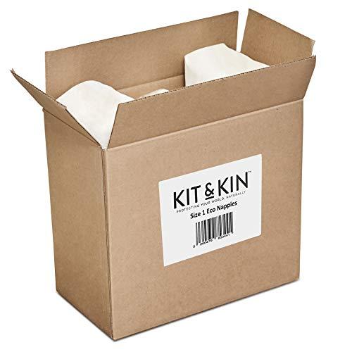 Kit & Kin White Eco Nappies Size 1 Hypoallergenic, No Animal Prints (40 x 4 Packs, 160 Nappies)
