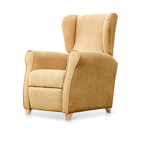 SUENOSZZZ-ESPECIALISTAS DEL DESCANSO Sillón Relax orejero Irene reclinable con Patas de Madera, Relax nórdico tapizado en Tela Antimanchas Mostaza